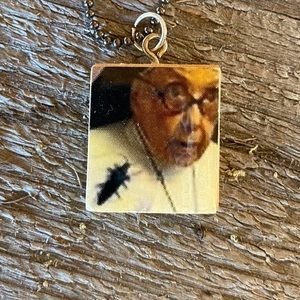 Nun With Bug Scrabble Tile Necklace